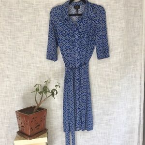 Laundry by Shelli Segal Blue Print Button Dress